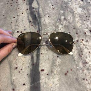Women's Ray Ban Gold Aviator Sunglasses
